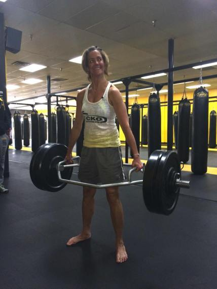 "Lifting 200-lbs gives you ""crazy eyes"". LOL! Great job Kristina!"