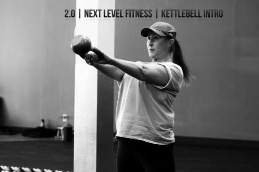 Lori during Kettlebell class at 2.0