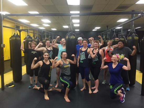 Jessica at a 6am challenge take over kickboxing class
