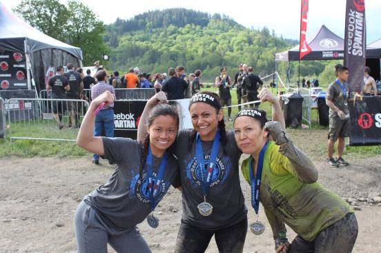 Lynda (middle) Having just completed the Spartan!